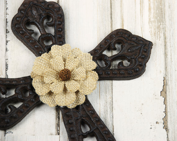 Ornate Cross, Wrought Iron, Burlap, Brown, Dark Brown, Tan, Ornate, Wall Cross, Iron Cross, Farmhouse, Rustic, Traditional, Home Decor, JaBella Designs