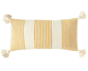 Yellow striped pillow, Mustard yellow and neutral beige pillow, Lumbar pillows, Accent pillows, Throw pillows with tassels, Country decor, Fixer Upper style, JaBella Designs