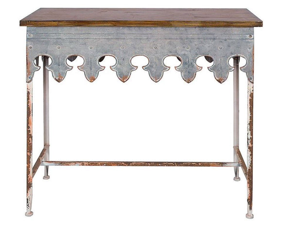 Zinc table, Metal scalloped edge table, Farmhouse chic entryway table, Accent furniture, Fixer Upper home decor, JaBella Designs, Murfreesboro