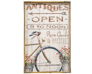 Antiques Open, Artwork, Spring art decor, Wall art, Canvas print, Bicycles, Flowers, JaBella Designs, Shabby chic home decor