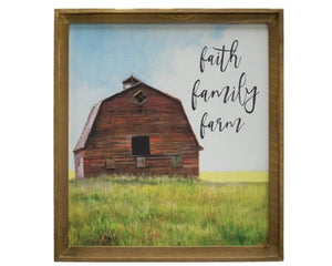 Red Barn, Country Barn, Faith, Family, Friends, Green, Blue, Country Living, Wall Decor, Artwork, Canvas Print, Jabella Designs, Wall art, Fixer Upper Style, Country Door