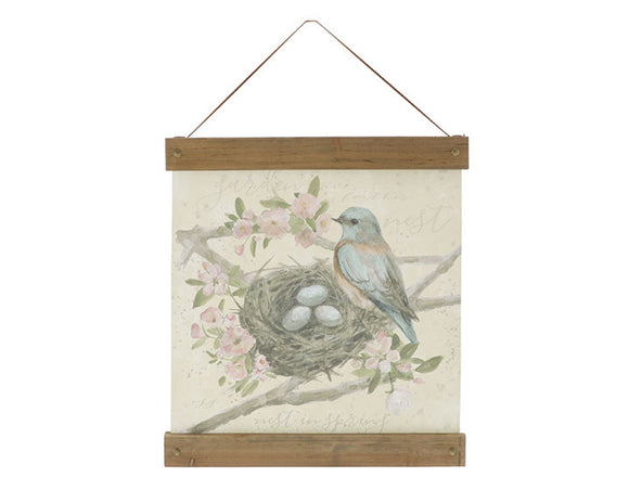 Bluebird canvas artwork, Shabby chic painting, Farmhouse chic art for the wall, Nursery bird decor, Pastel art, JaBella Designs, Wall art
