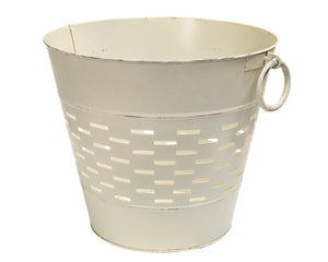 Olive Bucket, Antique White, White, Ivory, Cream, Bucket, Storage, Farmhouse, Decorative, Country, Rustic, Home Decor, Organization, JaBella Designs, The Hearthside Collection