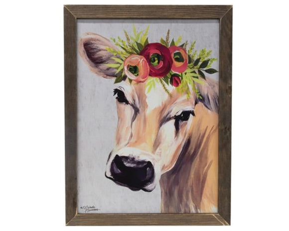 Jersey cow, Made in the USA, Cow artwork, Cow painting, Floral, Flowers, Red, Tan, Black, Blue, Green, Country wall decor, Country farmhouse, Wall hanging, Kitchen wall decor, JaBella Designs