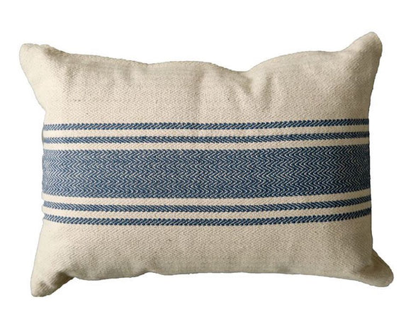 Blue, Natural, Tan, Pillow, Stripe, Country, Farmhouse, Fourth of July, Coastal, Home Decor, JaBella Designs