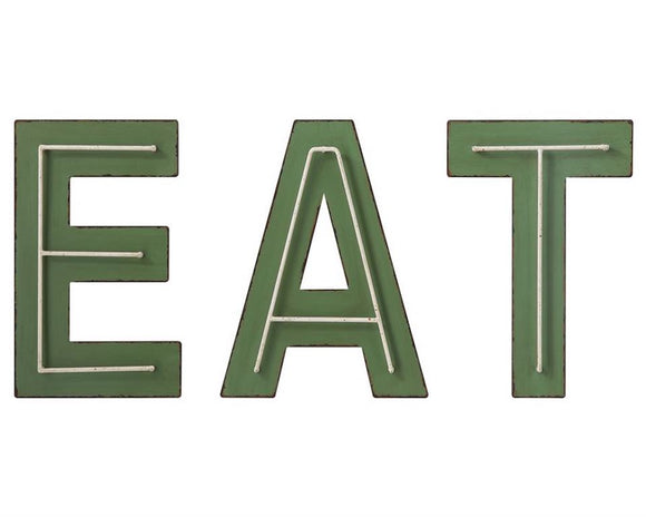 Eat sign, Green kitchen letters, Country kitchen wall hangings, Metal plaques, Farmhouse dining room decor, JaBella Designs