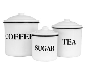Kitchen canisters, Coffee container, Sugar container, Tea storage, White, Black, Country farmhouse decor, JaBella Designs, Fixer Upper, Decor Steals