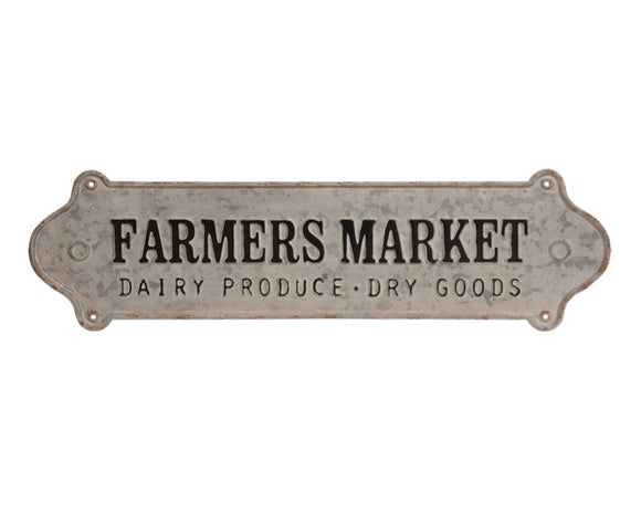 Farmers Market, Gray, Galvanized, Metal, Wall Plaque, Sign, Kitchen Decor, Home Decor, Farmhouse, Coastal, Cottage Chic, JaBella Designs