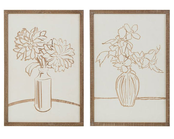 Neutral brown, tan, and white artwork, Farmhouse wall decor, Living room art, Wall hanging plaques, Floral decor, Flowers in vases, JaBella Designs, Home decor, Murfreesboro, Fixer Upper style, Wall art, Mud pie