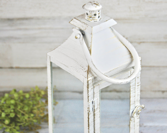 Farmhouse distressed white tall candle lantern