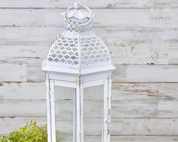 White lantern, Candle lanterns, Moroccan, Candleholders, Candle holders, White, Shabby chic, Farmhouse chic, JaBella Designs