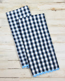 Navy blue gingham country kitchen towel set