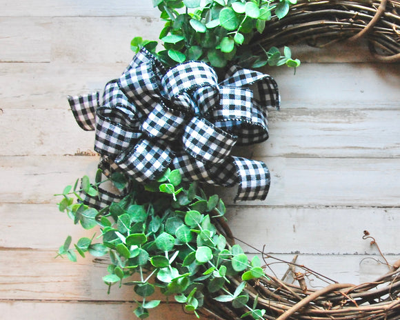 Black buffalo check, Buffalo plaid, Brown grapevine wreath with greenery, Year round wreaths, Front door decor, Handmade, Made in the USA, Etsy JaBella Designs