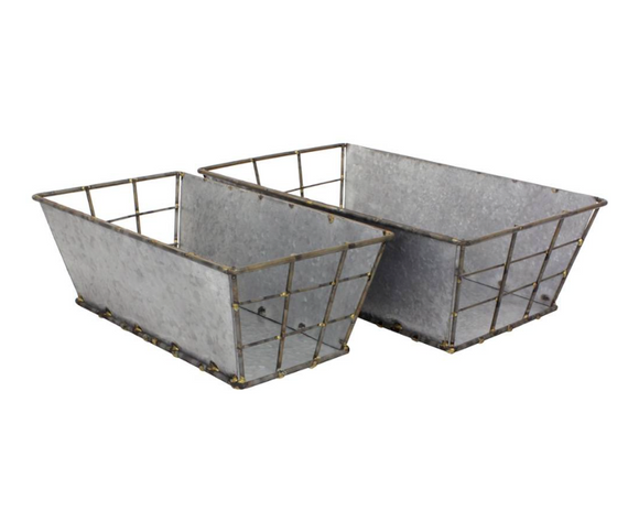 Rectangular galvanized metal baskets