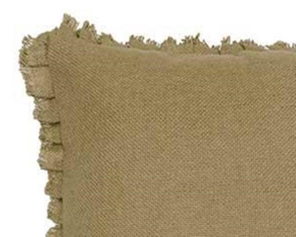Square natural burlap decorative pillow with fringe edges for the home