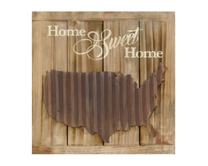 Home Sweet Home, Americana, Patriotic, Wall Plaque, Brown, Neutral, Wood, Cream, Ivory, United States, Farmhouse, JaBella Designs