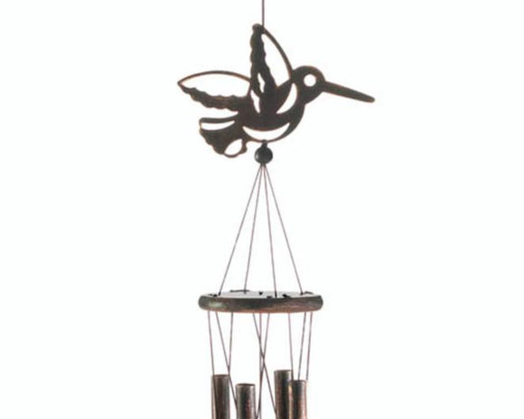 Hummingbird wind chime, Metal porch wind chime, Bird yard decor, Bird garden decor, Outdoor living, Brown wind chime, JaBella Designs, Murfreesboro