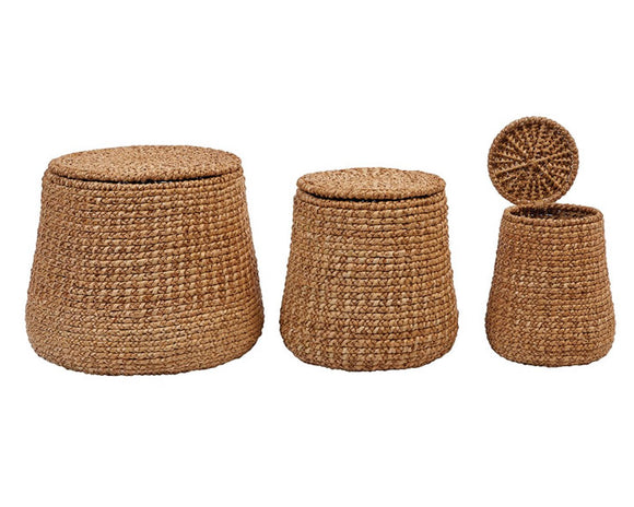 Water hyacinth baskets, Rattan basket set, Lidded baskets, Creative Co-op, Natural, Woven, Farmhouse storage, Decorative storage, JaBella Designs, Coastal Living decor, Fixer Upper style home decor