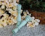 Small robin's egg blue wooden candlesticks