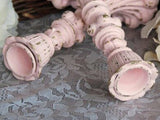 Ornate pink & gold distressed candlesticks