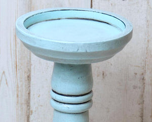 Light blue short wooden pillar candle holder