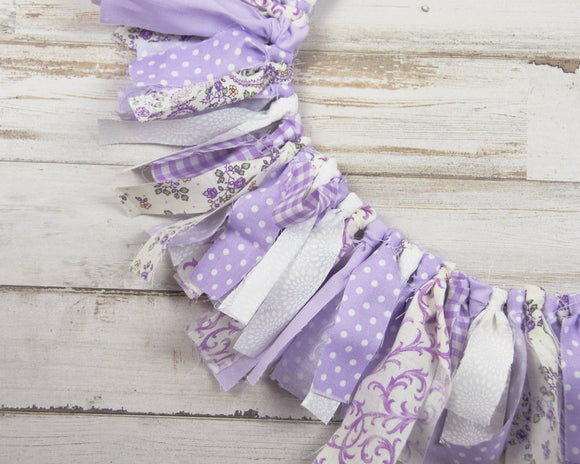 Fabric banner, Lavender, High chair banner, Mini banner, Mini garland, Etsy, Shabby chic, Farmhouse chic, Purple floral, White, Party decorations, JaBella Designs, Made in the USA