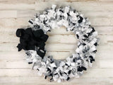 Gray farmhouse decorative fabric wreath