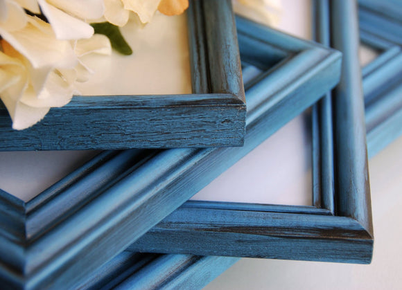 Custom hand-painted coastal blue vintage wooden wall hanging gallery picture frame set