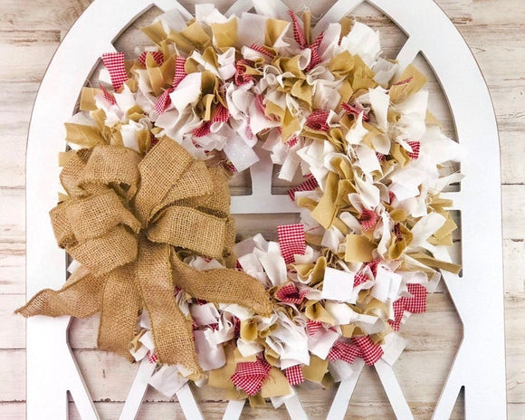 Farmhouse cathedral window frame, White faux window wall hanging, Buffalo check gingham fabric rag-tie wreath, Red and tan cotton wreath, Country Christmas decorations, JaBella Designs, Etsy, Made in the USA