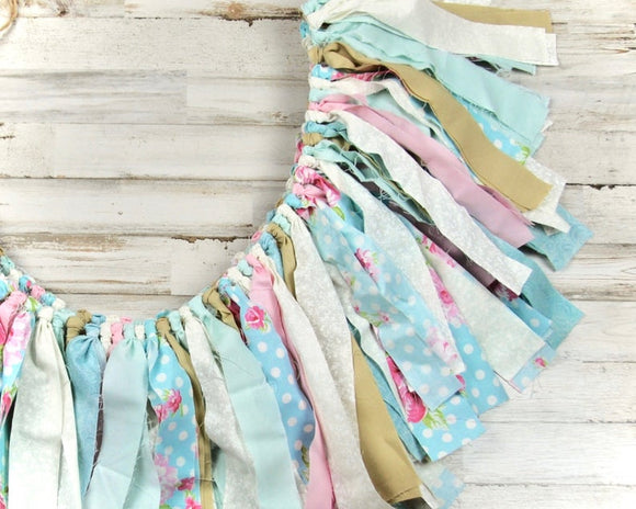 Etsy, Fabric banners, Rag tie garland banner, Floral banner, Robin's egg blue, pink, polka dot, brown, beige, ivory, antique white decorations, shabby chic decorations, high chair banner, mantel decorations, Easter decor, Home decor, JaBella Designs
