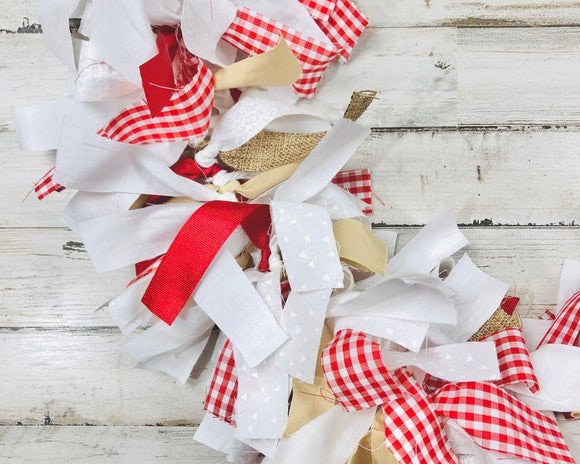 Red gingham plaid handmade fabric garland
