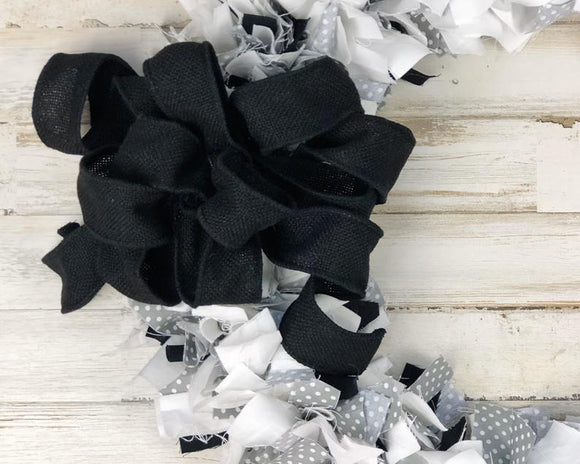 Farmhouse wreath, Black and white, Gray polka dot, Black burlap bow, Round wreath, Handmade, Made in the USA, JaBella Designs