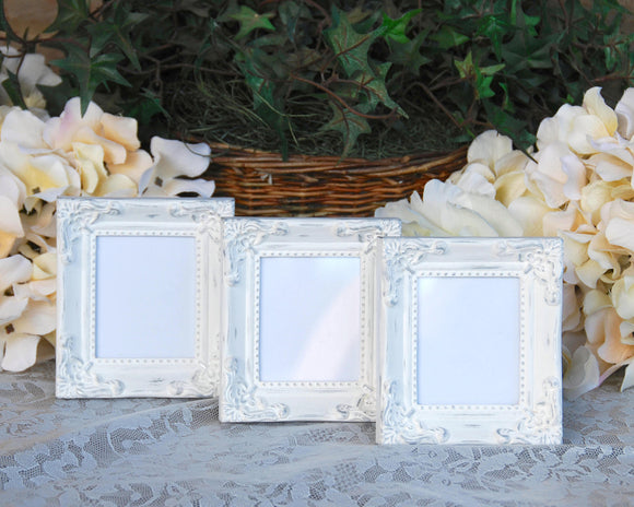 Ornate shabby white & silver small picture frame set