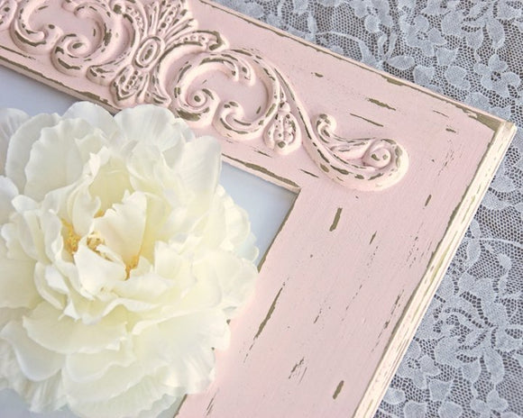 Pink Picture Frame, 8x10 Photo Frame, Pink, Gold, Distressed, Wooden Frames, Wall Gallery Frames, Shabby Chic, Cottage Style, Farmhouse Chic, Nursery Decor, Home Decor, JaBella Designs, Etsy, Handmade, Made in the USA