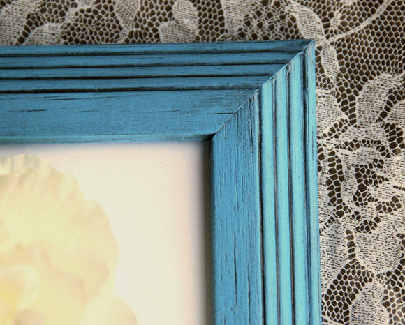 Aqua blue 5x7 wood frames, Blue wooden picture frames, Nursery photo frames, Kids wall decor, Wall gallery decorations, JaBella Designs