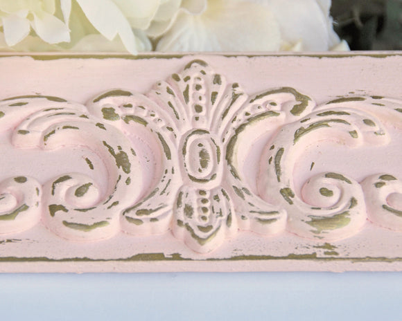Shabby distressed chic pink and gold 5x7 painted ornate nursery picture frame for baby girls