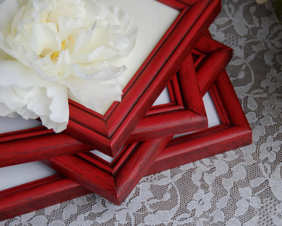Red, Picture Frames, Picture Frame Set, Photo Frames, Frame Collection, Wood, Painted Frames, Vintage, Country Decor, Classic Country, Farmhouse, Rustic, Home Decor, JaBella Designs