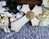 Small hand-painted antique white & burlap wall cross
