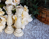 Small antique white & brown distressed candlestick set