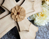 Hand-painted neutral tan & burlap flower wooden wall cross