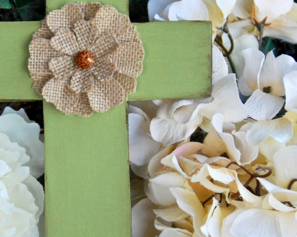 Painted apple green and burlap flower wooden wall cross for the home