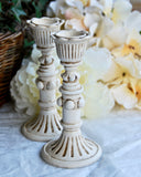Small antique white cottage chic ornate candlestick set