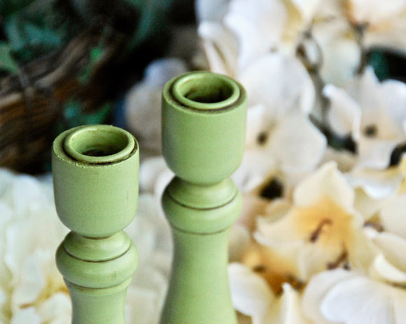 Apple green hand-painted wood candlesticks