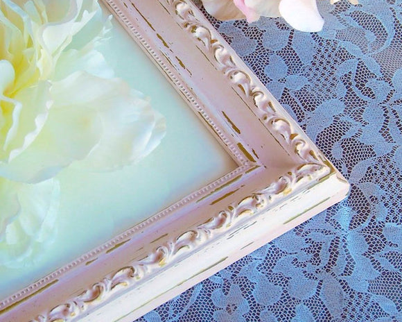 Shabby pink & gold 11x14 ornate wooden frame