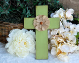 Kids apple green burlap embellished Christian wood wall cross nursery decor