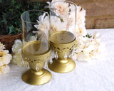 Gold beaded pillar candle holder set