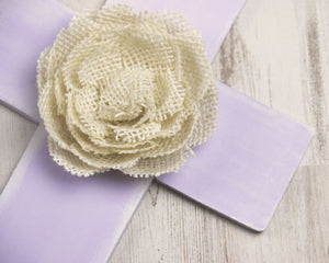 Hand-painted lavender & ivory burlap wall cross