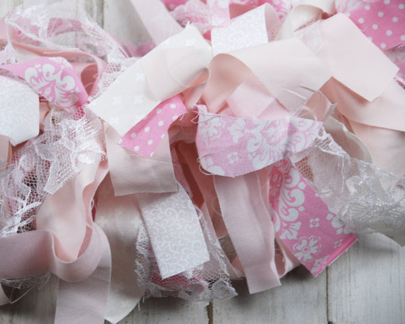 Pink & white fabric rag-tie garland