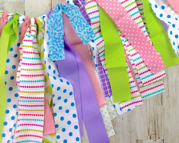 Custom polka dot boho chic fabric banner