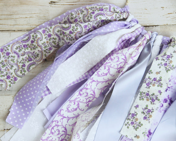 Fabric Garland, Fabric Banner, Lavender, Purple, White, Floral, Polka Dot, Ribbon, Party Decorations, Nursery Decor, Shabby Chic, Cottage Style, Spring Decor, Summer Decor, Baby Shower Decor, Party Supplies, JaBella Designs, Etsy, Handmade
